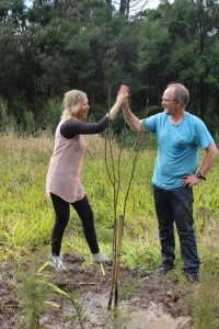 Clive and Sylvia planting tree